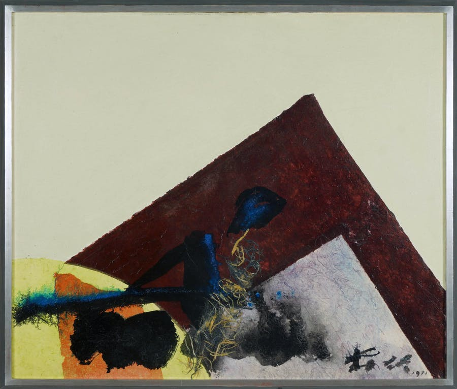 Acrylic and collage on canvas by Chuang Che (Chinese, b. 1934), titled Autumn Landscape, signed lower right and dated 1971, 34 inches by 40 ¼ inches (sight) (est. $15,000-$20,000).