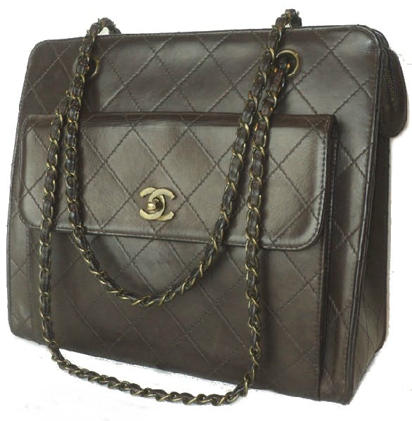 CHANEL - Dark Brown Diamond Quilted Front Pocket CC Turn Lock Hand/Shoulder Bag, 1997-99