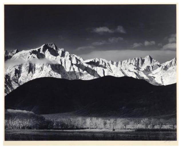 "ANSEL ADAMS (1902 San Francisco - 1984 Carmel-by-the-Sea) - ""Sierra Nevada from Lone Pine, California"", Silbergelatine-Abzug, bezeichnet und signiert, 1944/1062"