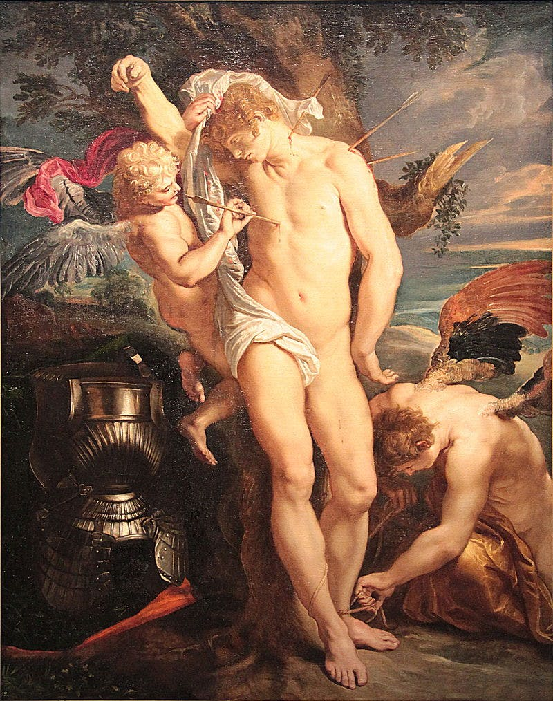 Attribué à Rubens, « Saint Sébastien secouru par les anges », image via Wikimedia Commons