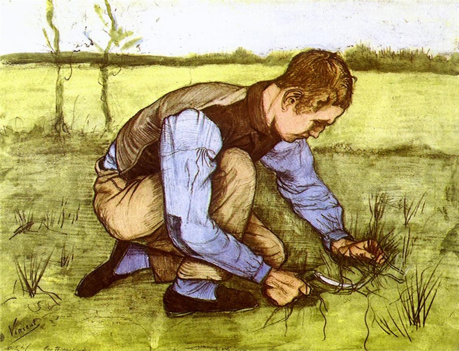 Vincent van Gogh, 'Boy Cutting Grass with a Sickle', 1881. Photo: Wikipedia