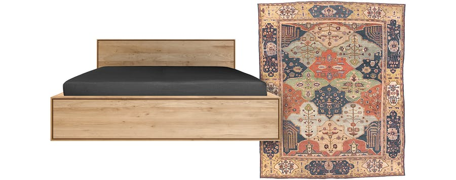 From Left: Alain Van Havre for Ethnicraft Nordic II Bed and Persian Handwoven Ziegler Sultanabad Rug 13'3″ x 16'3″ Circa 1890.