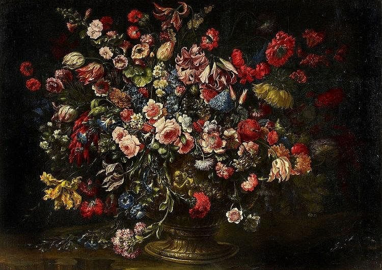 Andrea Scacciati, Monumental Still Life with Roses, Tulips, Lilies and other Flowers in a Bronze Vase
