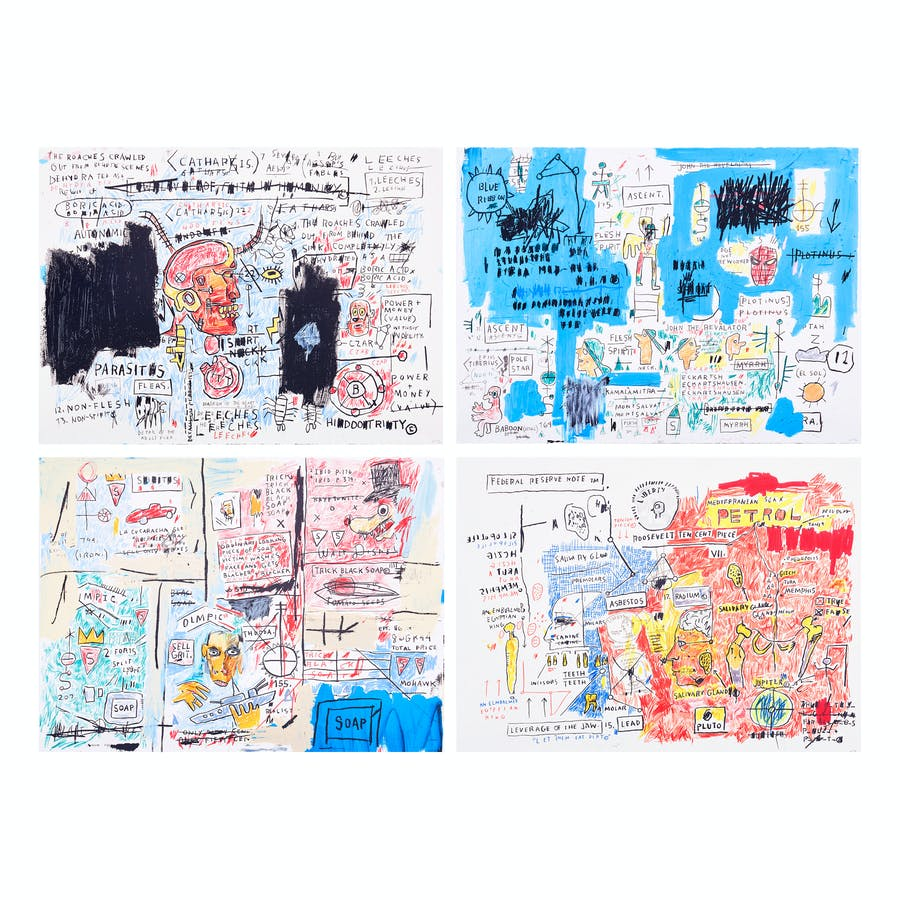 Ascent, Olympic, Leeches, and Liberty, Jean-Michel Basquiat. 1982-83, screen prints in color