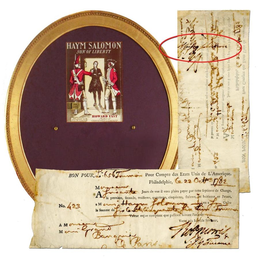 Rev War-date endorsing signature of Jewish financier Haym Solomon, on a check issued by Robert Morris as Superintendent of Finance, with portrait and plaque (est. $20,000-$24,000).