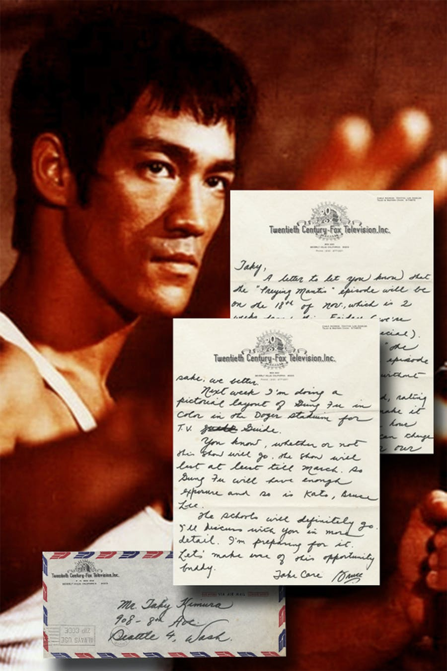 Letter written and signed in 1966 by the late Kung Fu master Bruce Lee, with content relating to The Green Hornet, one of several rare Bruce Lee items in the sale (est. $15,000-$17,000).