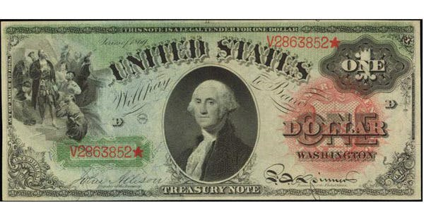 1869 $1 Rainbow Legal Tender Note