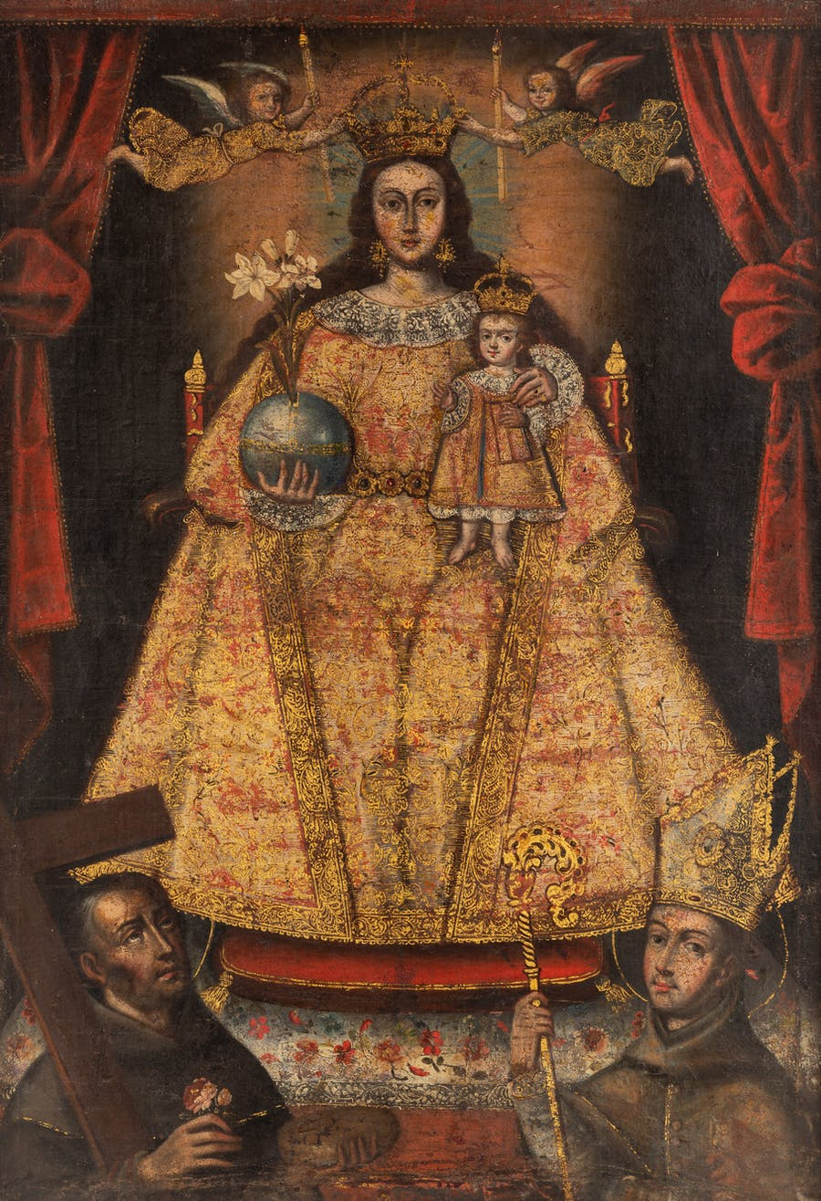 Madonna and Child, Cuzco School. 18th century, oil and gilt on canvas.