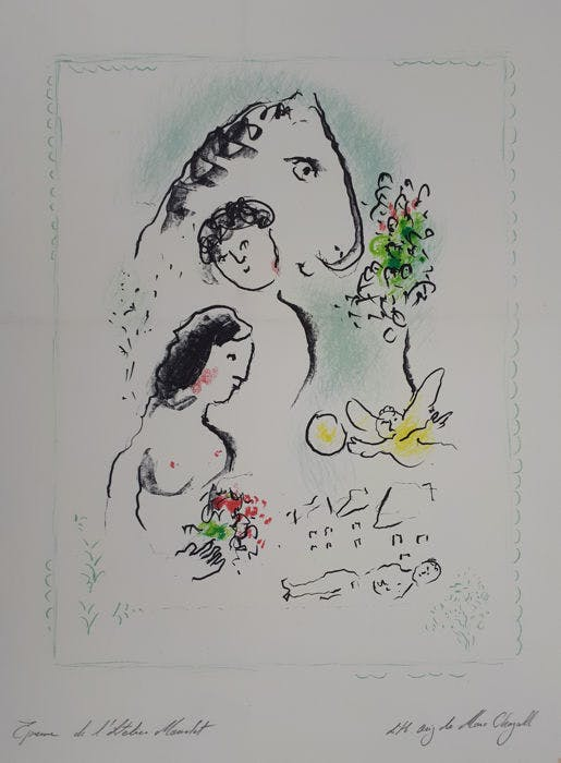 Marc Chagall, 'Les Amoureux', lithograph. Photo: Catawiki