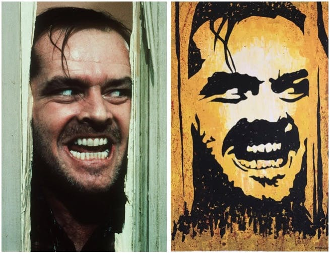 "Links: Jack Nicholson in ""The Shining"" Foto via nydailynews.com Rechts: CATHARINA MASSAUT - ""Here's Johnny"", Acryl/Lwd., signiert Catawiki"