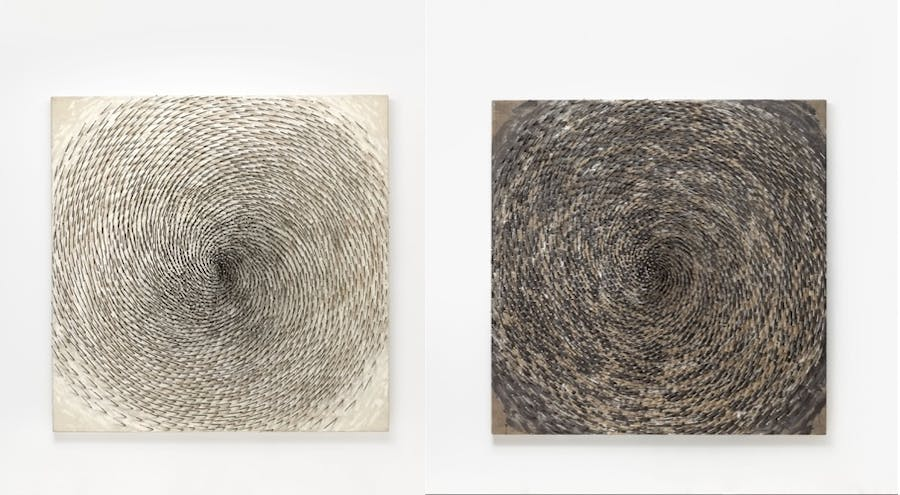 Günther Uecker,Spiral I (left) and Spiral II (right) 1997
