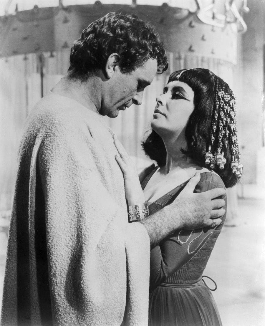 Elizabeth Taylor and Richard Burton in Cleopatra (1963). Image: Courier-Gazette, McKinney, TX Photo from 20th Century Fox, producer of the film. - page 4 Via Newspapers.com