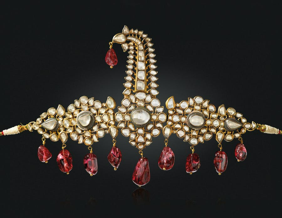 """The Nizams of Hyderabad Sarpech"": An antique diamond, spinel, pearl and enamel sarpech. Image: Christie's"