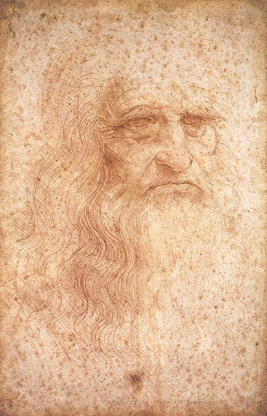 """The red chalk drawing from around 1512, which is in the Biblioteca Reale in Turin, is generally referred to as the """"Self-Portrait of Leonardo da Vinci."""" Image via Wikimedia Commons"""
