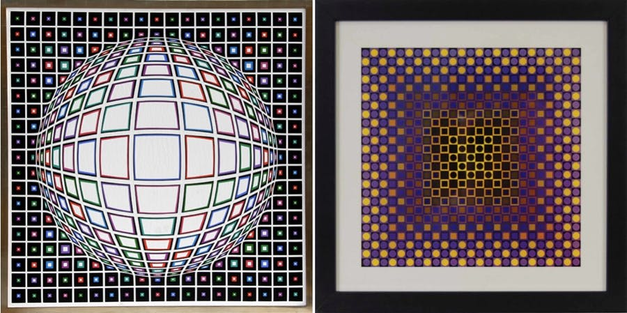 Links: VICTOR VASARELY - Bianco, Acryl/Lwd., 1987 RoGallery Rechts: VICTOR VASARELY - Alom, Serigrafie, 1971 PrivateLot