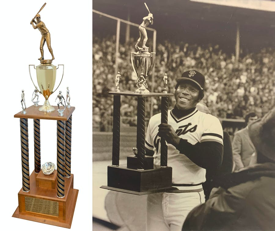 Willie McCovey 500 Home Run Trophy Presented To Him On Field In 1978