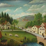 """Henri """"Le Douanier"""" Rousseau, « Pastoral landscape with stream, fisherman and strollers », 1875–1880,"""