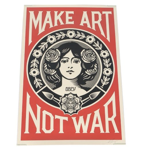 Shepard Fairey, Make Art Not War, lithographie signée
