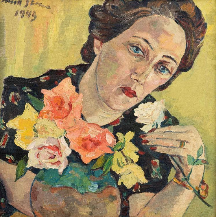 Irma Stern, « Freda with Roses », 1943, vendu en 2017 pour 223 000 euros, image via Strauss & Co.