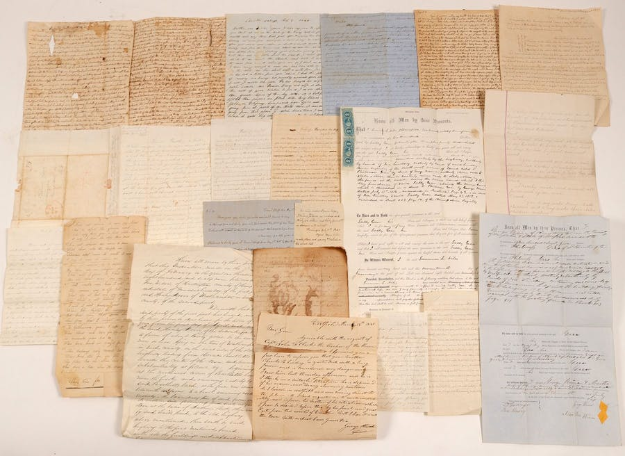 Archive of material pertaining to Sally Gear, an original member of the Mormon Church, with Emigrant Trail and Gold Rush correspondence, plus more, 1829-1880s (est. $3,000-$7,000).