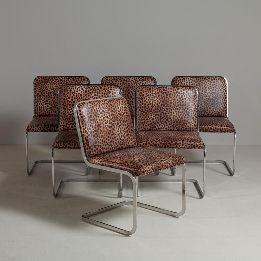 Set of six chromium steel-framed cantilevered dining chairs. Photo: Talisman
