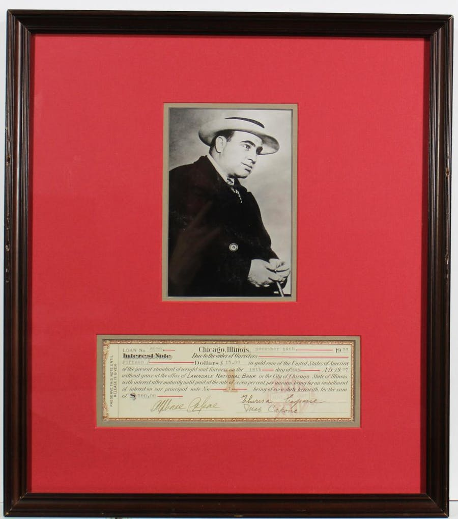 """One-page bank interest note twice-signed by Al Capone (as """"Alphons Capone""""), dated Nov. 18, 1926, also signed by his mother, Theresa Capone, and his wife, Mae (est. $20,000-$24,000)."""
