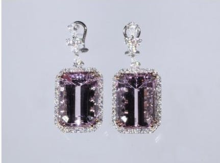 Designer dangle earrings in 18K white gold, each set with a large kunzite stone and diamonds