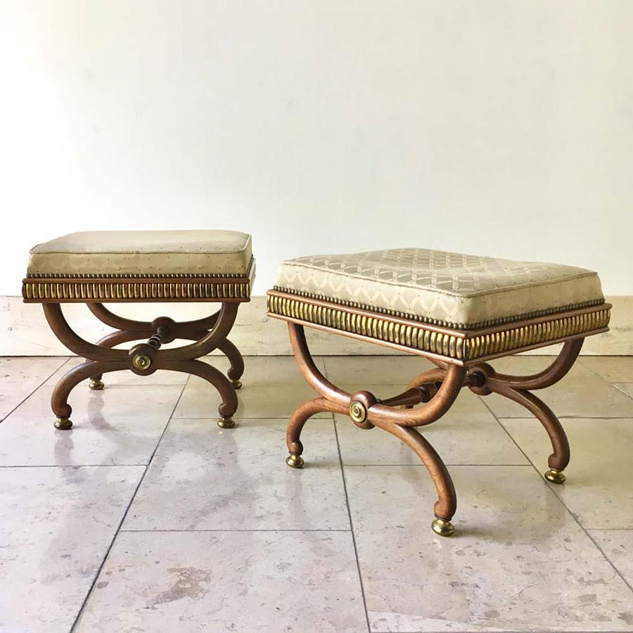 Pair of possibly Russian Empire-style rosewood stools. Photo: Talisman