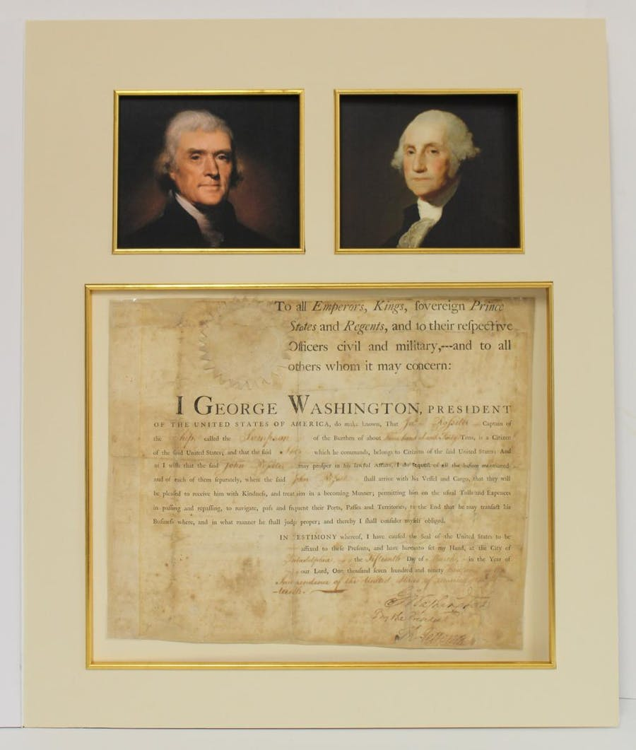 Ship passport dated March 15, 1793, signed by both George Washington and Thomas Jefferson regarding the British-seized ship Sampson (est. $10,000-$12,000).