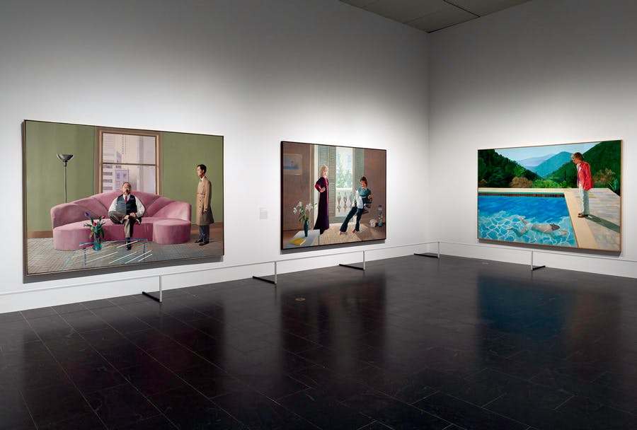 Three of Hockney's most famous double portraits (from left: 'Henry Geldzahler and Christopher Scott', 'Mr and Mrs Clark and Percy', 'Portrait of an Artist') at the Met's David Hockney retrospective in 2017. Photo: The Metropolitan Museum of Art