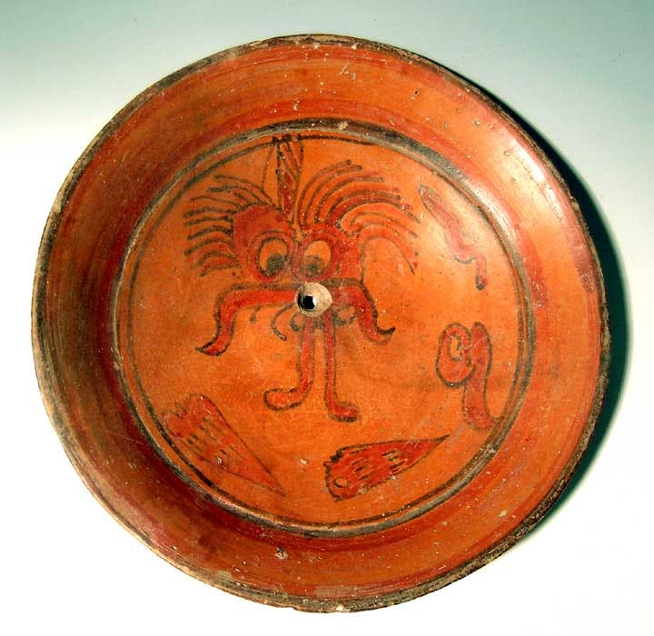 Maya polychrome plate from Guatemala (circa 600-900 AD) is 12 ¾ inches in diameter, professionally restored from five pieces, with no new material added (est. 900-$1,200).