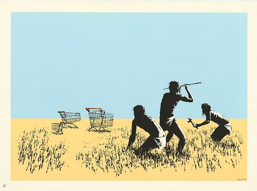 BANKSY, Trolleys Screenprint on paper 54.9 x 74.9 cm, 2007 Edition of 750 Signed stamped with POW chop mark and authenticated by Pest Control Courtesy Galerie Taglialatella