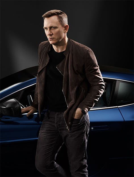 Actor Daniel Craig and his limited edition centennial 2014 Centenary Edition Vanquish, numbered 007 - photo posted via Barnebys,fr