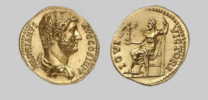 EMPIRE, GOLD AUREUS OF HADRIAN, possibly by the Alphaeus Master, Rome, ca. AD 135, 7.161g