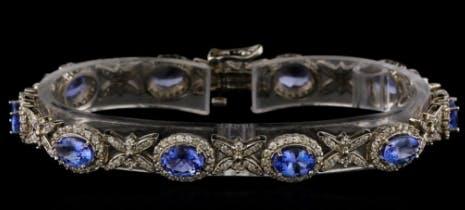 Bracelet tanzanite, diamants et or blanc