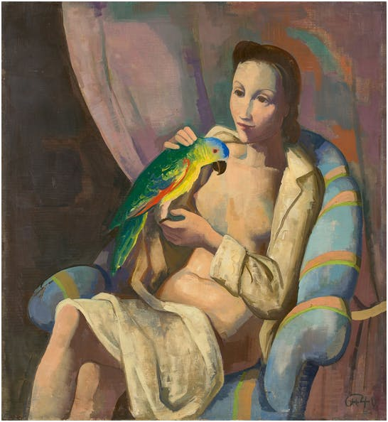 "Karl Hofer (1878-1955) ""Frau mit Papagei"", 1940 Estimation: 250 000-350 000 EUR"