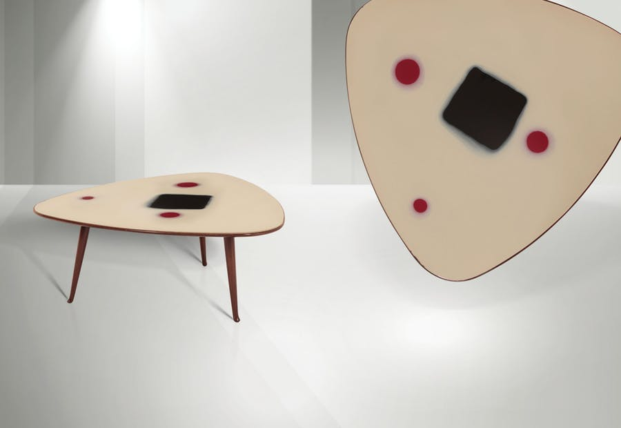 Osvaldo Borsani and Lucio Fontana, coffee table with wooden frame and glass top, Concetto Spaziale series, produced by Borsani Furnishings, 1952, © Cambi Casa D'Aste