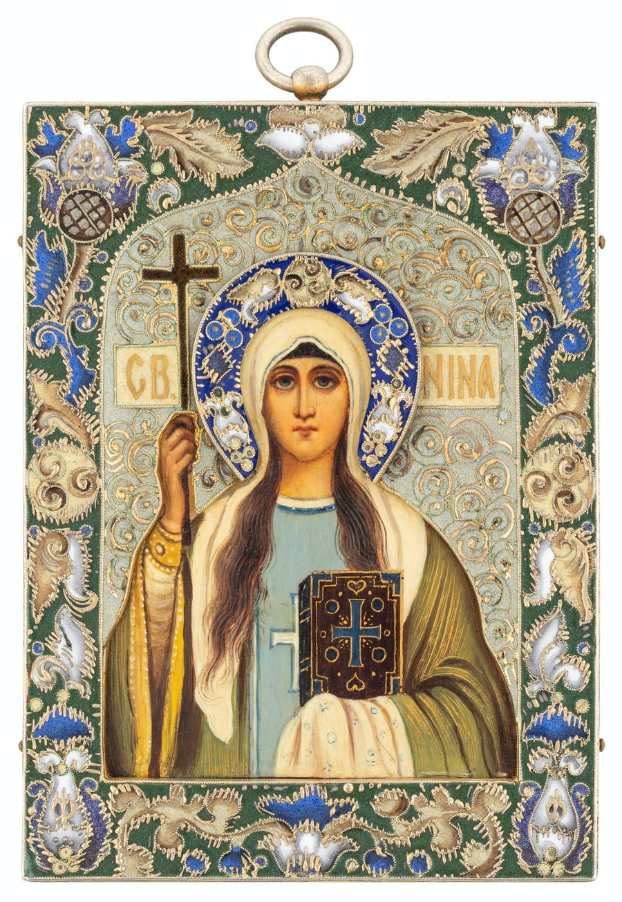 A Fabergé silver and shaded cloisonne enamel icon of Saint Nino, 1908-17