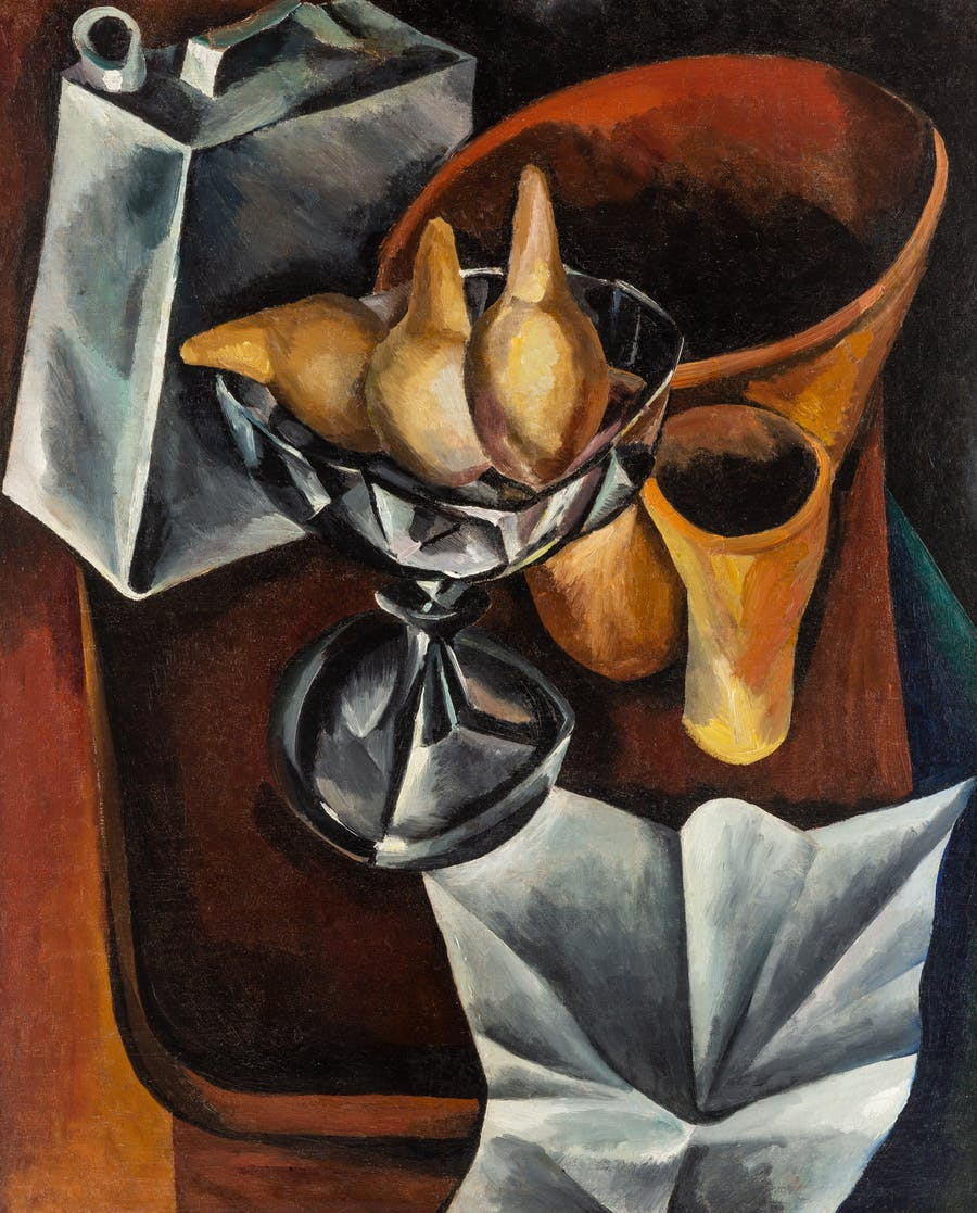 Still Life with a White Tablecloth and Pears, Vladimir Osipovich Roskin. 1918, oil on canvas.