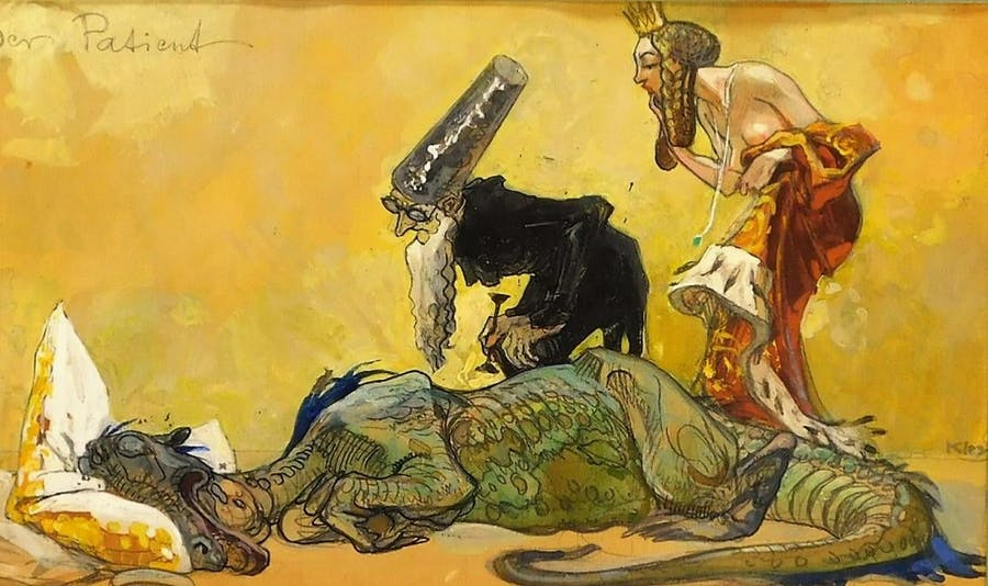Mythical illustrative painting by Heinrich Kley (German, 1863-1945), titled Der Patient, depicting an ill dragon resting on a pillow stuffed with gold (est. $3,000-$5,000).