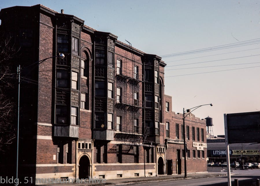 1964 view (kodachrome slide) of the Loeb apartments (1891-92) photographed by Richard Nickel. Wright, Adler, and Sullivan, architects. It was demolished in 1974, but the south entrance and two-story floor staircase escaped demolition.