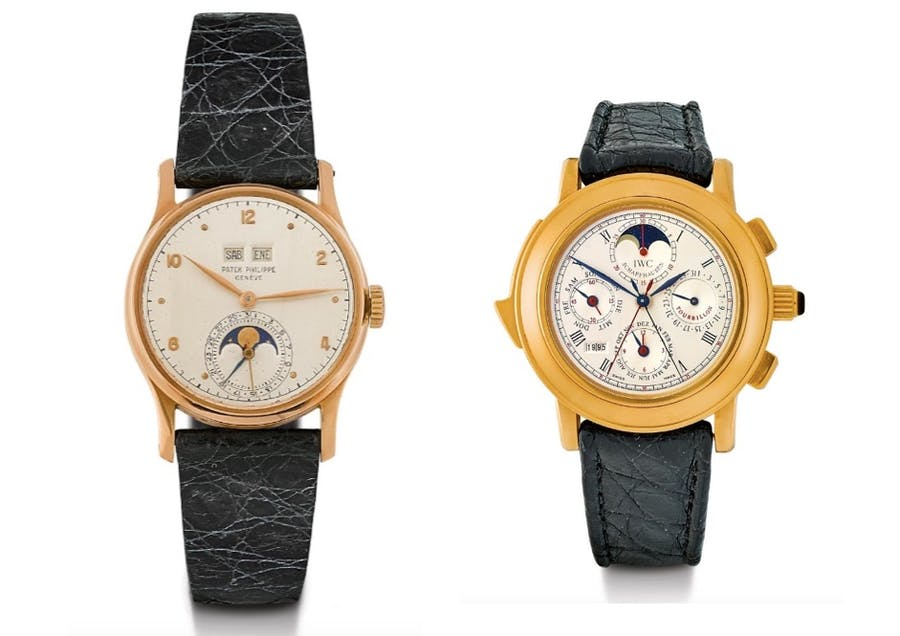 "Links: PATEK PHILIPPE - Ewiger Kalender, Roségold, 1951 Rechts: IWC - II Destriero Scafusia ""Grand Complication"", Gold, 1990er Jahre"