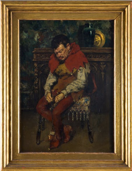 William Merritt Chase, (1849-1916) - Jester Resting on a Chair, image ©Gray's Auctions