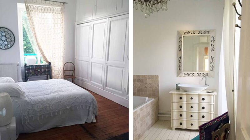 A bedroom and bathroom in the home. Images: Airbnb
