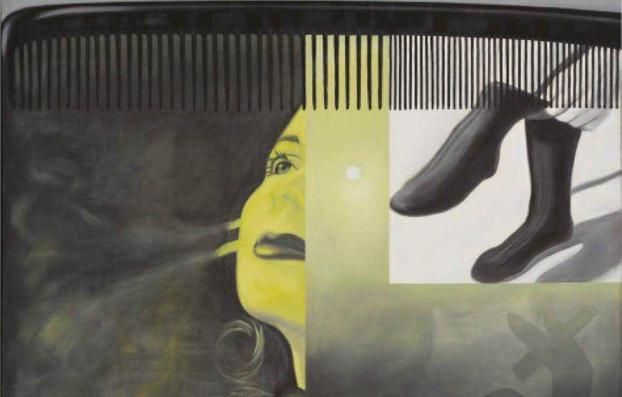 James Rosenquist, The Light That Won't Fail I, 1961. Oil on canvas. 182.2 x 244.5 cm (71 3/4 x 96 1/4 in.). Hirshhorn Museum and Sculpture Garden, Gift of the Joseph H. Hirshhorn Foundation, 1966. © 2019 Estate of James Rosenquist / Licensed by VAGA at Artists Rights Society (ARS), NY. Used by permission. All rights reserved. Photo: Cathy Carver.