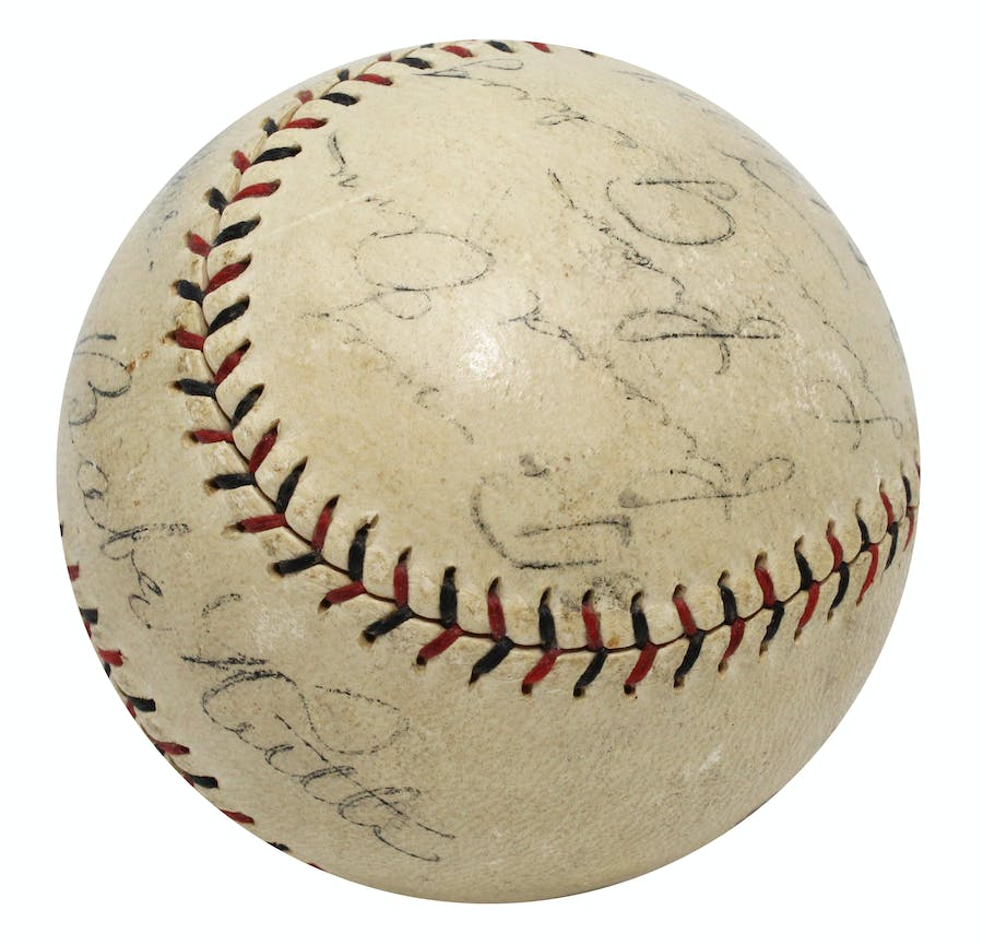 """1927 Babe Ruth & Lou Gehrig """"Bustin' Babes And Larrupin' Lou's"""" Game-Used & Dual-Signed Barnstorming Baseball"""