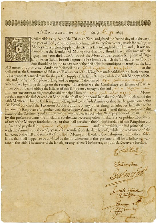 "475 - Scottish 'Forced' Loan - Edinburgh, 22.08.1644, Schottische ""Zwangs""anleihe über 600 Merks (= £ 400), ""for raising of Moneys for a present supply to the Armies sent to England and Ireland"", o. Nr. Ausruf: 4.500 EUR"