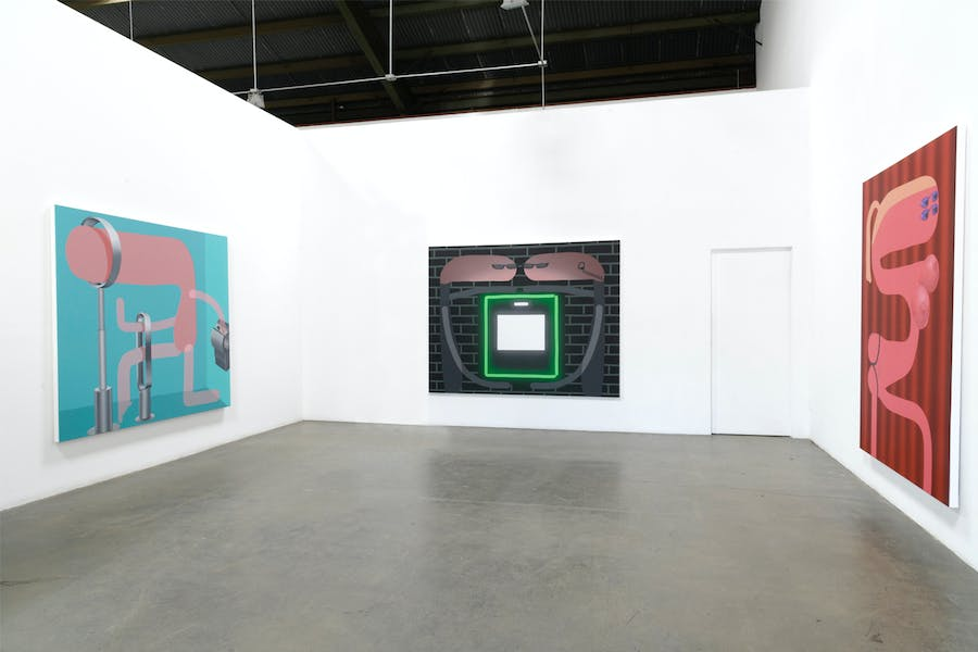 Oli Epp, 'The Germaphobe', 'Security Theft' and '10 Minutes (sunbed)' all 2019, oil and acrylic and spray paint on canvas, part of 'Contactless' at Richard Heller Gallery. Photo courtesy the artist and Richard Heller Gallery