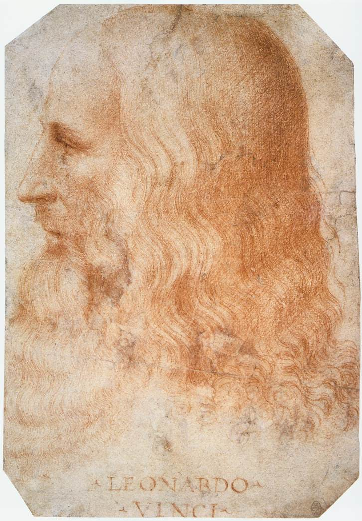 Portrait de Léonard de Vinci, attribué à Francesco Melzi, 1518-19, dessin à la craie rouge, image © Royal Collection Trust