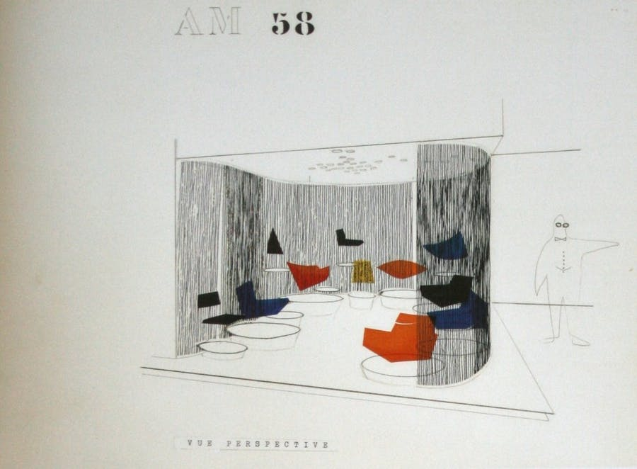 Zeichnung des Messestandes von Thonet France, Salon des Arts Ménagers, 1958 Abb.: The red list